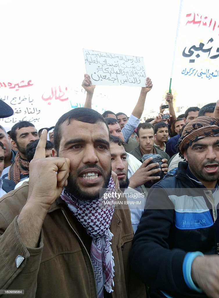 Iraqis shout slogans during an anti-government protest at the end of the Friday's prayers in the ethnically mixed city of Kirkuk, 240 kms (150 miles) north of Baghdad on February 8, 2013.