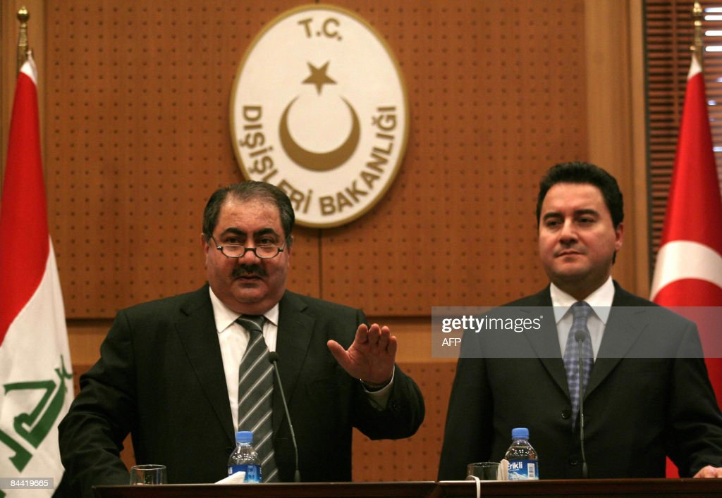 Iraq's Foreign Minister Hoshyar Zebari and his Turkish counterpart Ali Babacan speak to the media after their meeting in Ankara on January 23 2009...