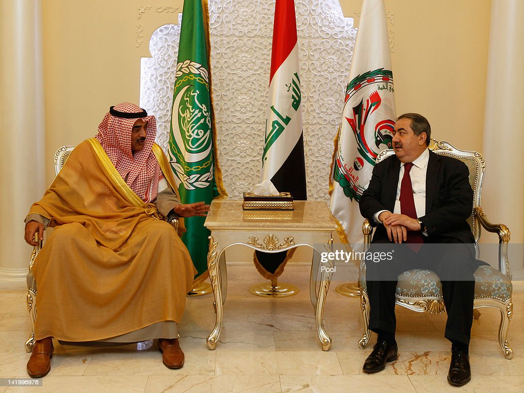 Iraq's Foreign Minister Hoshyar Zebari meets with his Kuwaiti counterpart Sheikh Sabah Khalid AlHamad AlSabah upon his arrival for the Arab foreign...