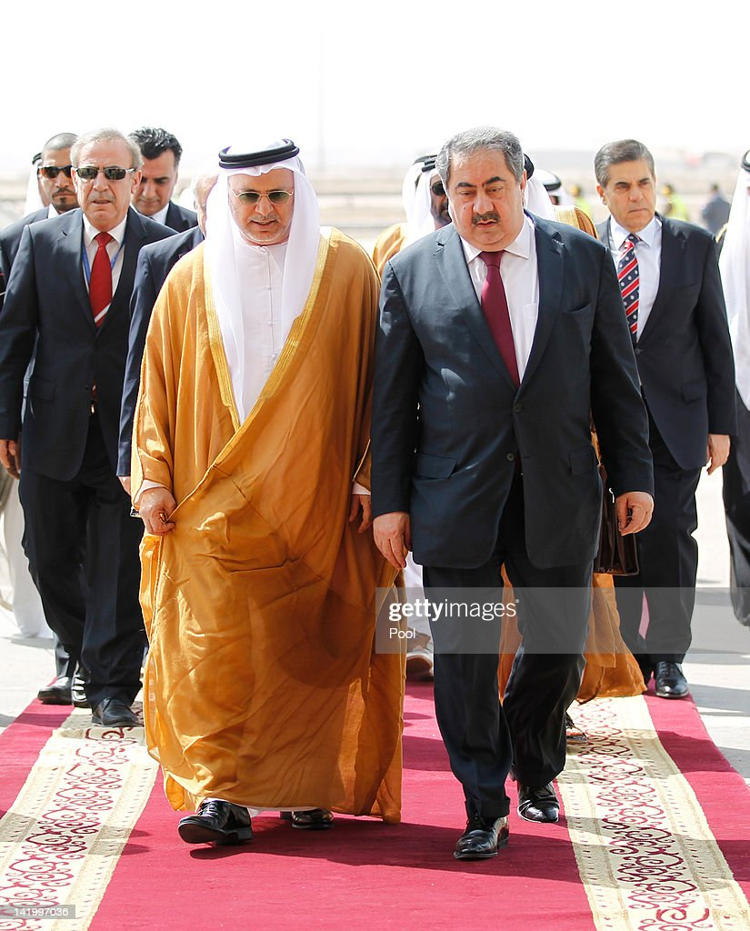 Iraq's Foreign Minister Hoshyar Zebari receives UAE's Minister of State for Foreign Affairs Anwar Mohammed Gargash ahead of the Arab foreign...