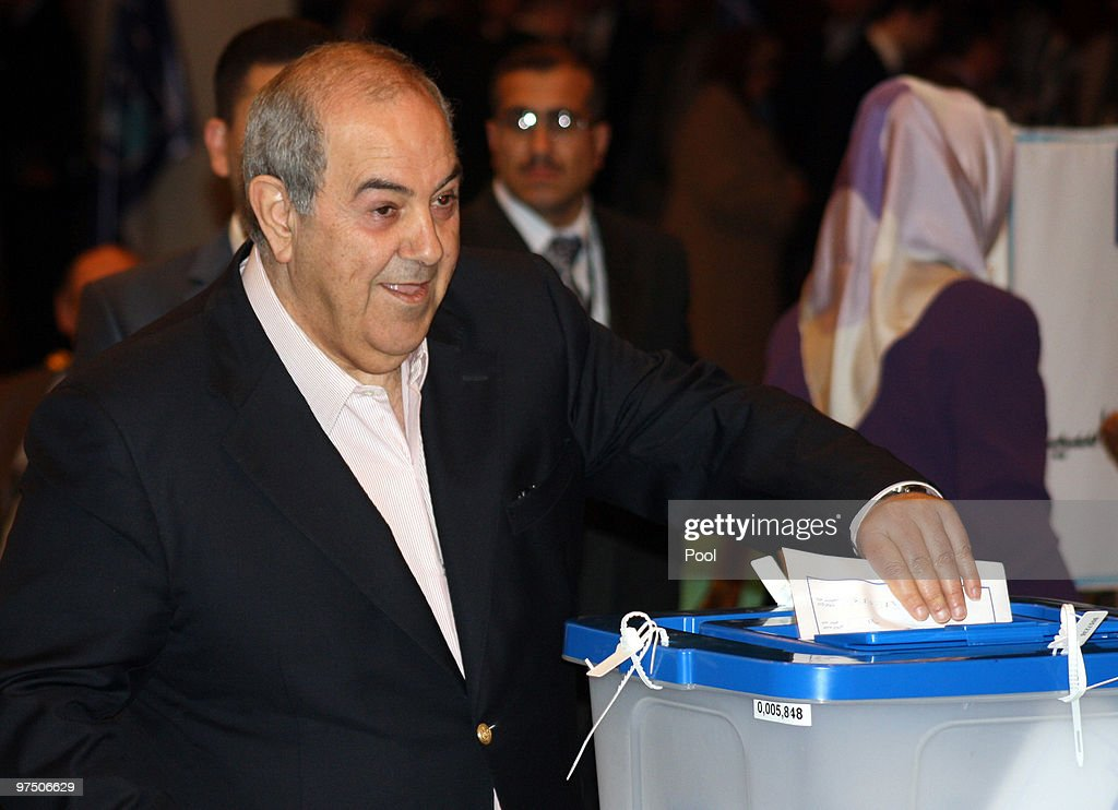 Iraq's former prime minister and head of Iraqi national movement, Iyad Allawi, casts his vote for the Iraqi parlaimentary elections, in a polling station in the green zone on March 07, 2010 in Baghdad, Iraq. People in 18 Iraqi provinces have started voting, in the second parliamentary election since the US overthrow of Saddam Hussein in 2003, to choose their candidates for the 325-seat parliament at about 10,000 polling centers.