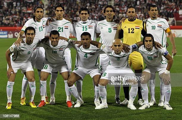 Iraq's midfielder Karrar Jassim defender Ahmed Ibrahim defender Ali Rahima midfielder Nashat Akram goalkeeper Mohammed Qassid forward Yunes Mahmud...
