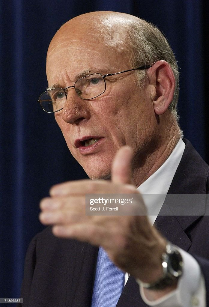IRAQ--Senate Select Intelligence Chairman <a gi-track='captionPersonalityLinkClicked' href=/galleries/search?phrase=Pat+Roberts&family=editorial&specificpeople=213805 ng-click='$event.stopPropagation()'>Pat Roberts</a>, R-Kan., during a news conference releasing the committee's report on pre-war intelligence on Iraq. The report says that the justification for going to war with Iraq was based on inaccurate intelligence and overstated judgements.