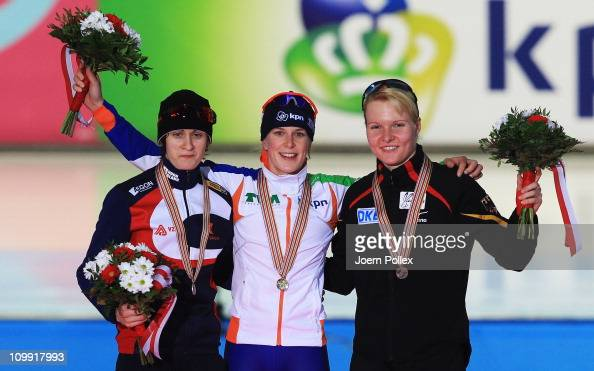 Ireen Wuest of Netherland for first place Martina Sablikova of Czech Republic for second place and Stephanie Beckert for third place take the podium...