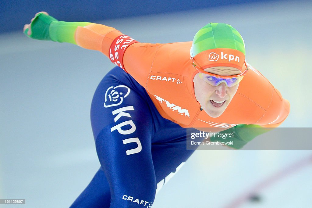 <a gi-track='captionPersonalityLinkClicked' href=/galleries/search?phrase=Ireen+Wuest&family=editorial&specificpeople=4032138 ng-click='$event.stopPropagation()'>Ireen Wuest</a> of Netherlands competes in the Ladies 1500m Group B race during day one of the ISU Speed Skating World Cup at Max Eicher Arena on February 9, 2013 in Inzell, Germany.