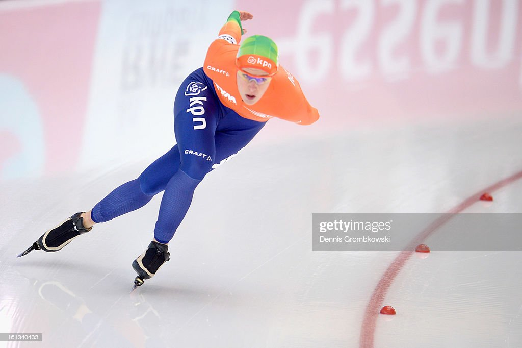 Ireen Wuest of Netherlands competes in the Women's 3000m Division A race during day two of the ISU Speed Skating World Cup at Max Aicher Arena on February 10, 2013 in Inzell, Germany.