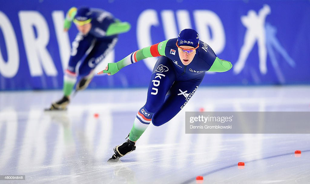 Ireen Wuest of Netherlands is chased by Marrit Leenstra of Netherlands in their Ladies' 1500m Division A race during Day 3 of the Essent ISU World Cup Speed Skating at Sportforum Hohenschoenhausen on December 7, 2014 in Berlin, Germany.