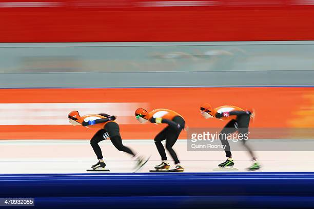 Ireen Wust Lotte van Beek and Jorien ter Mors of the Netherlands compete during the Women's Team Pursuit Quarterfinals Speed Skating event on day...