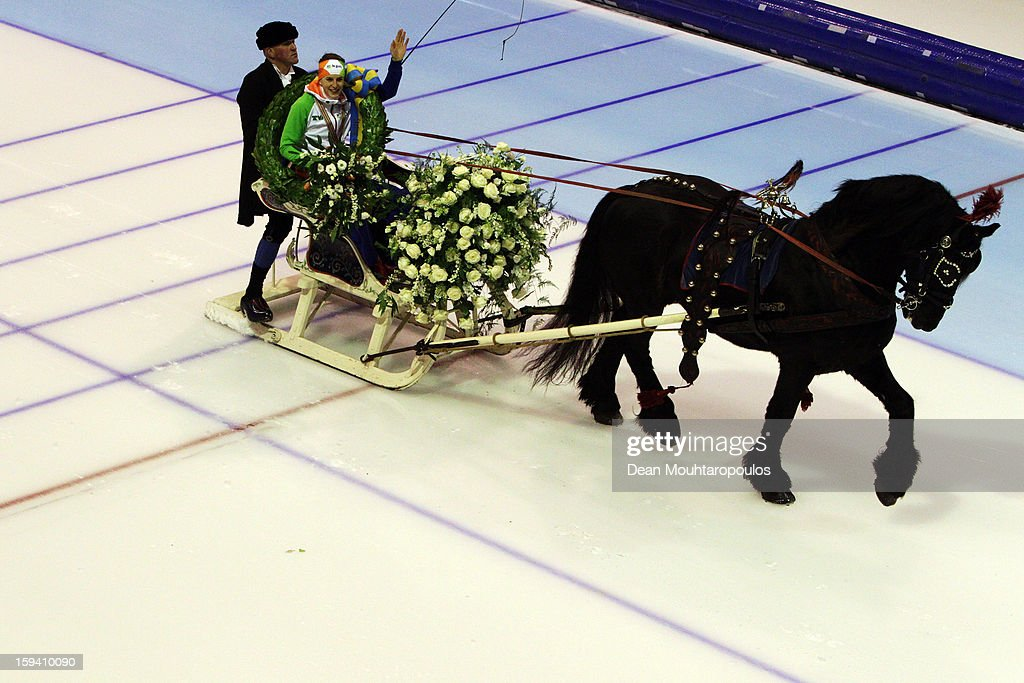 Ireen Wust of Netherlands celebrates becoming the European Champion with a lap of honor in a horse led sled during the Final Day of the Essent ISU European Speed Skating Championships 2013 at Thialf Stadium on January 13, 2013 in Heerenveen, Netherlands.