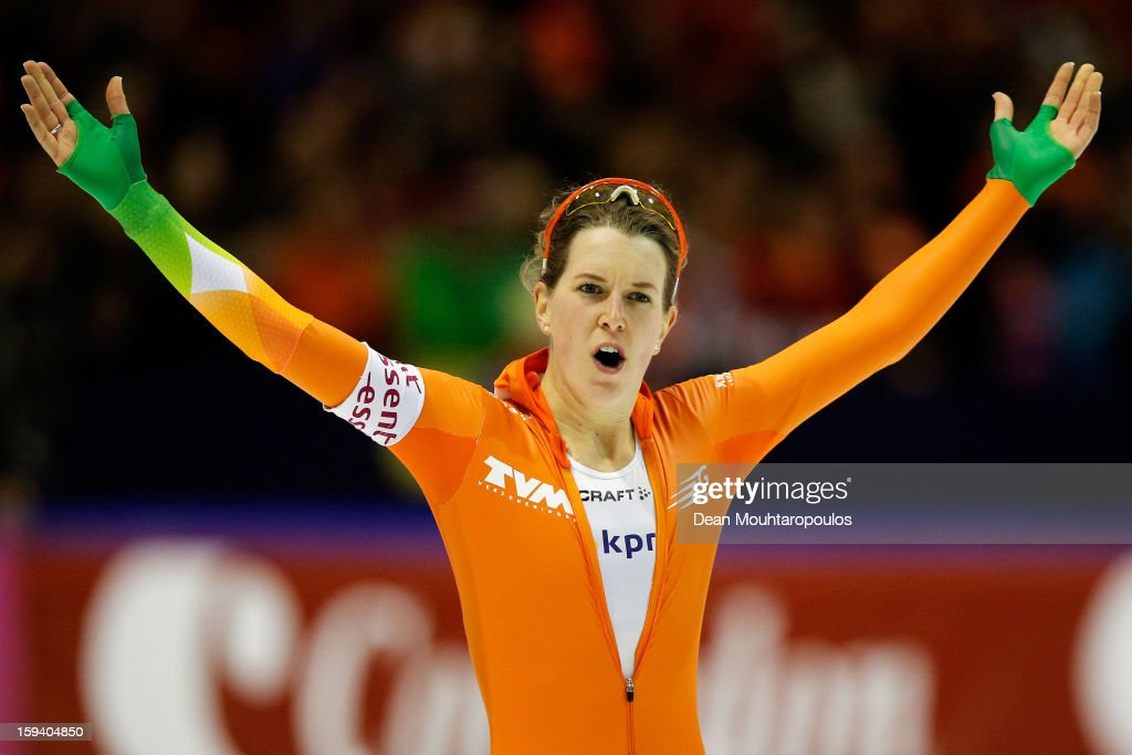 Ireen Wust of Netherlands celebrates her victory after the 5000m Ladies race during the Final Day of the Essent ISU European Speed Skating Championships 2013 at Thialf Stadium on January 13, 2013 in Heerenveen, Netherlands. Ireen Wust of Netherlands is now the European Champion.