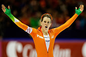 Ireen Wust of Netherlands celebrates her victory after the 5000m Ladies race during the Final Day of the Essent ISU European Speed Skating...