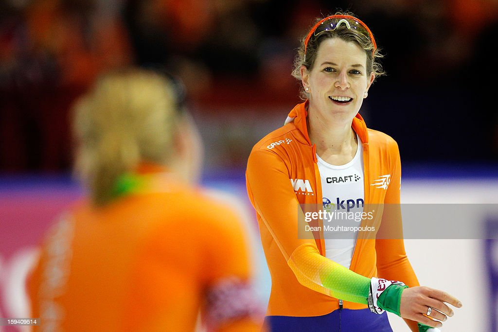 Ireen Wust (R) of Netherlands celebrates her victory after the 5000m Ladies race with Linda de Vries during the Final Day of the Essent ISU European Speed Skating Championships 2013 at Thialf Stadium on January 13, 2013 in Heerenveen, Netherlands. Ireen Wust of Netherlands is now the European Champion.