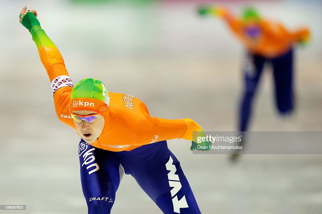 Ireen Wust of Netherlands competes in the 1500m Ladies race during the Final Day of the Essent ISU European Speed Skating Championships 2013 at Thialf Stadium on January 13, 2013 in Heerenveen, Netherlands.