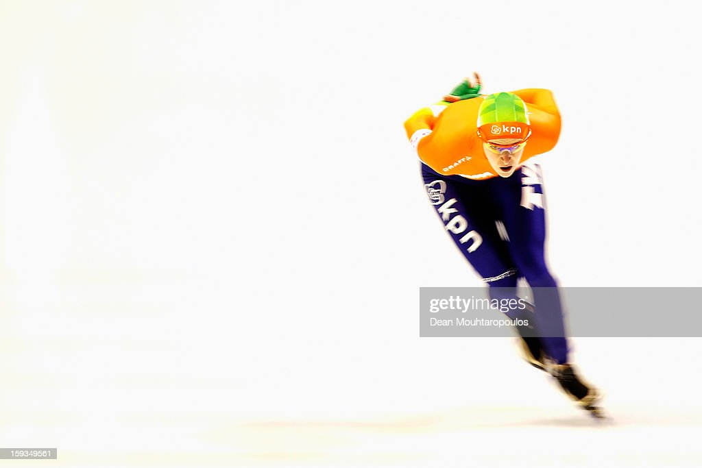 Ireen Wust of Netherlands competes in the 3000m Ladies race during the Essent ISU European Speed Skating Championships 2013 at Thialf Stadium on January 12, 2013 in Heerenveen, Netherlands.