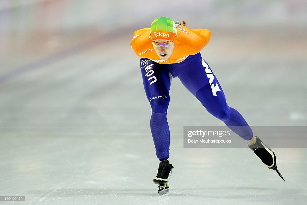 Ireen Wust of Netherlandsn competes in the 5000m Ladies race during the Final Day of the Essent ISU European Speed Skating Championships 2013 at Thialf Stadium on January 13, 2013 in Heerenveen, Netherlands. Ireen Wust of Netherlands is now the European Champion.