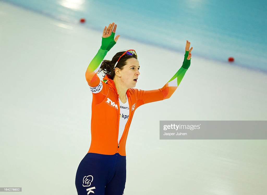 Ireen Wust of the Netherlands celebrates after the 1500m race where she won gold on day two of the Essent ISU World Single Distances Speed Skating Championships at the Adler Arena Skating Center on March 22, 2013 in Sochi, Russia.