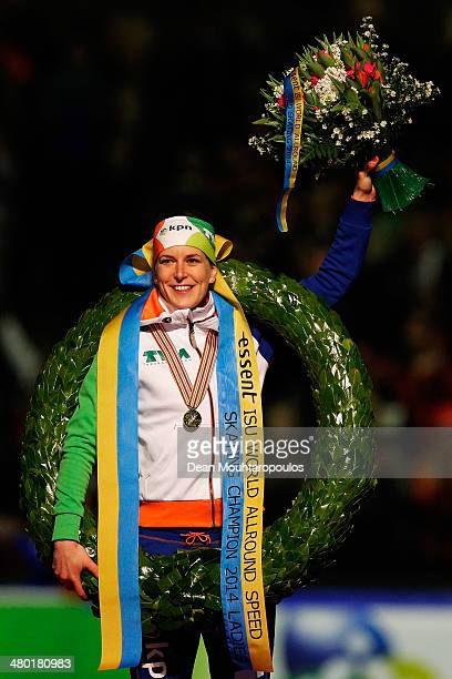 Ireen Wust of The Netherlands celebrates after winning the overall standings during day two of the Essent ISU World Allround Speed Skating...