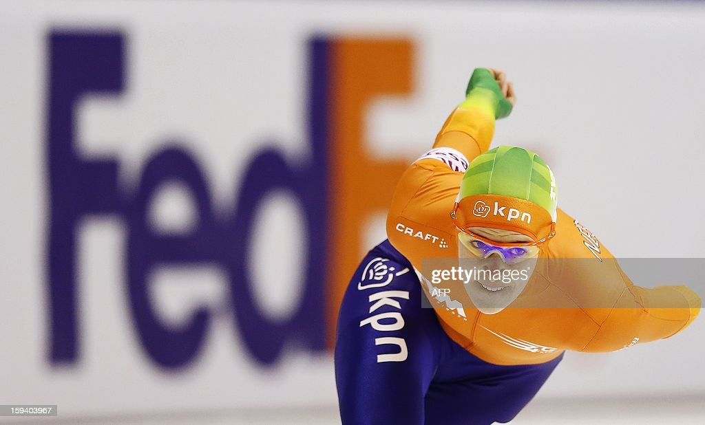 Ireen Wust of the Netherlands competes during the women's 1500 meter race at the European Speed Skating Championships in Heerenveen, The Netherlands, on January 13, 2013.