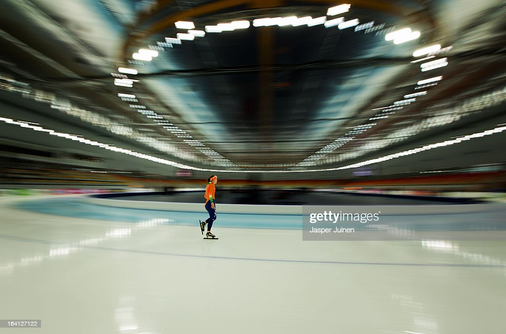 Ireen Wust of the Netherlands rounds a curve during a morning training session ahead of the Essent ISU World Single Distances Speed Skating Championships at the Adler Arena Skating Center on March 20, 2013 in Sochi, Russia.