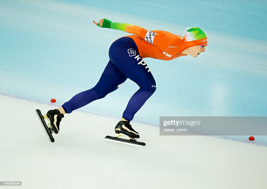 Ireen Wust of the Netherlands rounds a curve during the 1500m race where she won gold on day two of the Essent ISU World Single Distances Speed Skating Championships at the Adler Arena Skating Center on March 22, 2013 in Sochi, Russia.