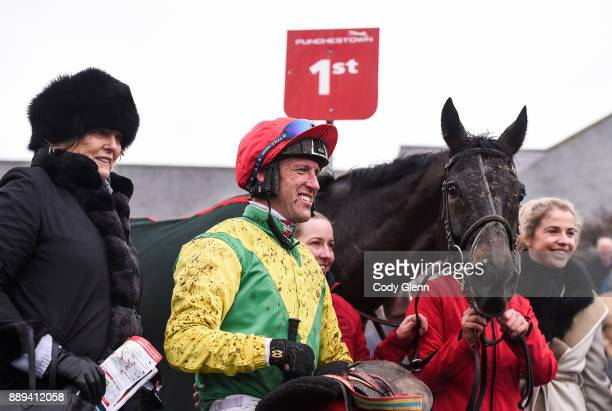 NAAS Ireland 10 December 2017 Trainer Jessica Harrington with jockey Robbie Power and horse Sizing John in the winner's enclosure after winning the...