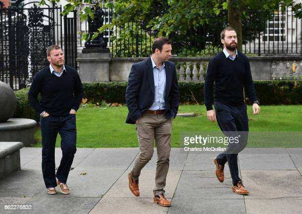 Ireland and Ulster rugby director Bryn Cunningham arrives at court with fellow Ulster rugby staff at Belfast Magistrates Court on October 17 2017 in...