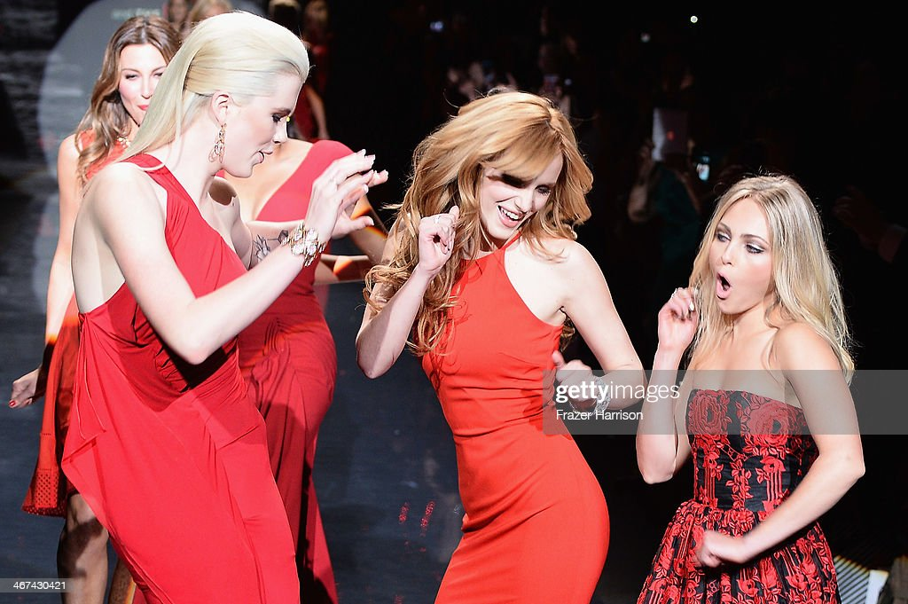 Ireland Baldwin, Bella Thorne and AnnaSophia Robb walk the runway at Go Red For Women - The Heart Truth Red Dress Collection 2014 Show Made Possible By Macy's And SUBWAY Restaurants at The Theatre at Lincoln Center on February 6, 2014 in New York City.
