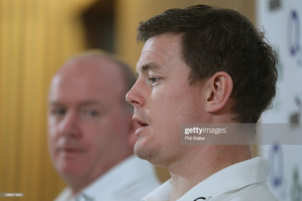 Ireland captain <a gi-track='captionPersonalityLinkClicked' href=/galleries/search?phrase=Brian+O%27Driscoll&family=editorial&specificpeople=194745 ng-click='$event.stopPropagation()'>Brian O'Driscoll</a> (R) speaks to media with head coach <a gi-track='captionPersonalityLinkClicked' href=/galleries/search?phrase=Declan+Kidney&family=editorial&specificpeople=626890 ng-click='$event.stopPropagation()'>Declan Kidney</a> (L) during a press conference at Aviva Stadium on November 18, 2010 in Dublin, Ireland.