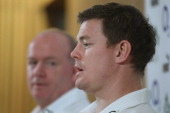 Ireland captain Brian O'Driscoll speaks to media with head coach Declan Kidney during a press conference at Aviva Stadium on November 18 2010 in...