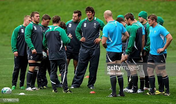 Ireland captain Brian O'Driscoll speaks with his players during an Ireland IRB Rugby World Cup 2011 training session at Rugby League Park on October...
