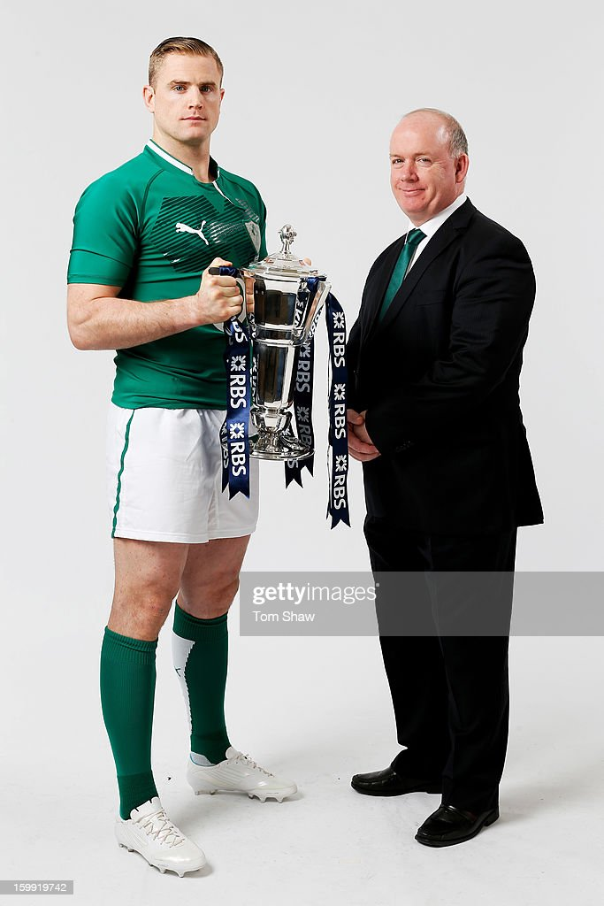 Ireland captain Jamie Heaslip and Declan Kidney the Ireland head coach pose with the Six Nations trophy during the RBS Six Nations launch at The Hurlingham Club on January 23, 2013 in London, England.