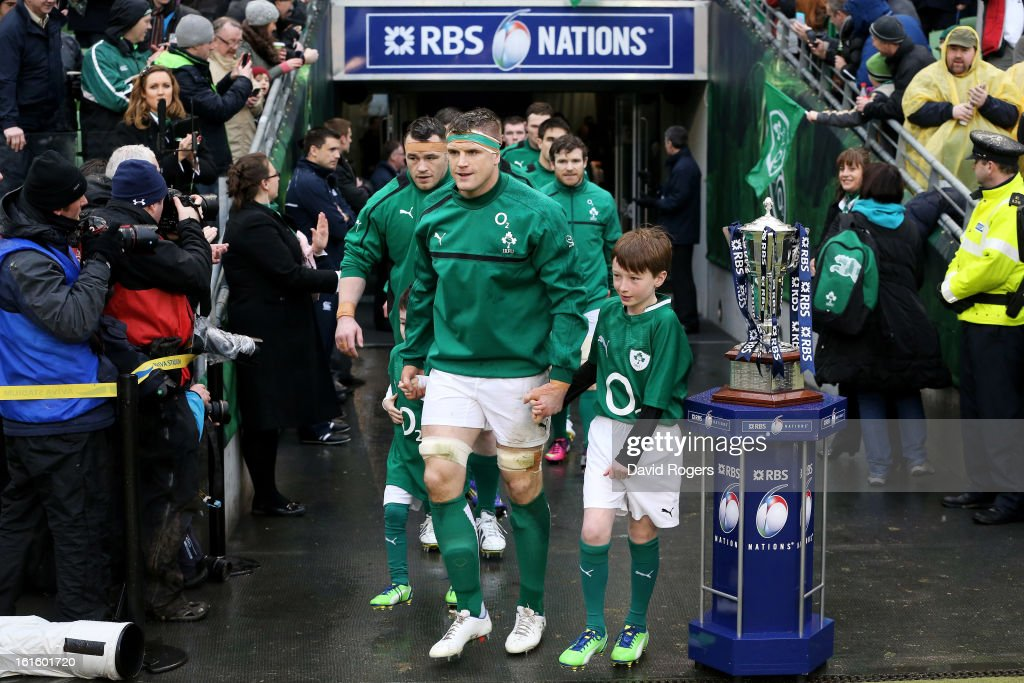 Ireland captain Jamie Heaslip leads out his team during the RBS Six Nations match between Ireland and England at Aviva Stadium on February 10, 2013 in Dublin, Ireland.
