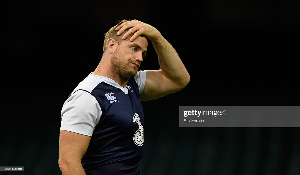 Ireland captain Jamie Heaslip reacts during Ireland's captains run prior to saturday's Rugby World Cup warm up match against Wales at Millenium...
