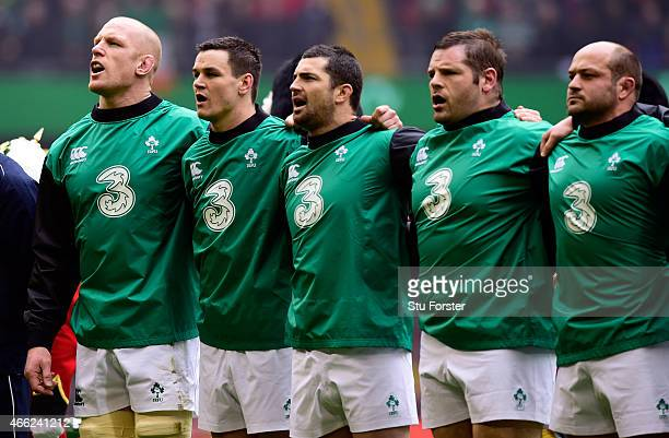Ireland captain Paul O' Conell and team mates sing the national anthem before the RBS Six Nations match between Wales and Ireland at Millennium...