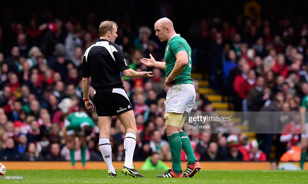 Ireland captain Paul O' Conell reacts to referee Wayne Barnes during the RBS Six Nations match between Wales and Ireland at Millennium Stadium on March 14, 2015 in Cardiff, Wales.