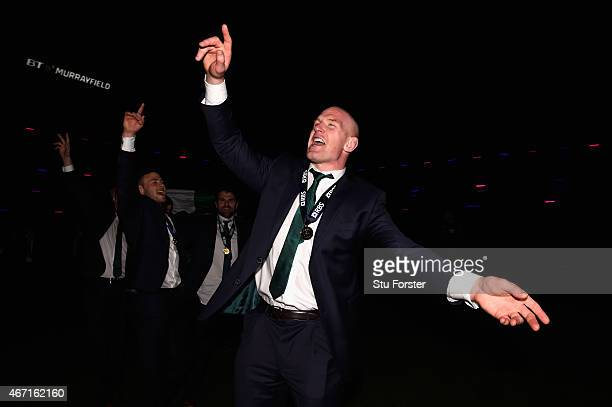 Ireland captain Paul O' Connell celebrates after the RBS Six Nations match between Scotland and Ireland at Murrayfield Stadium on March 21 2015 in...