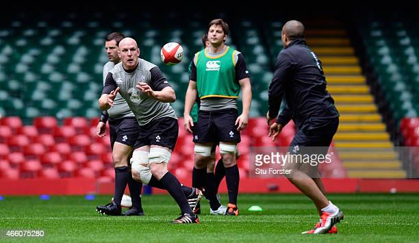 Ireland captain Paul O' Connell in action during training ahead of tomorrow's RBS Six Nations match against Wales at Millennium Stadium on March 13...