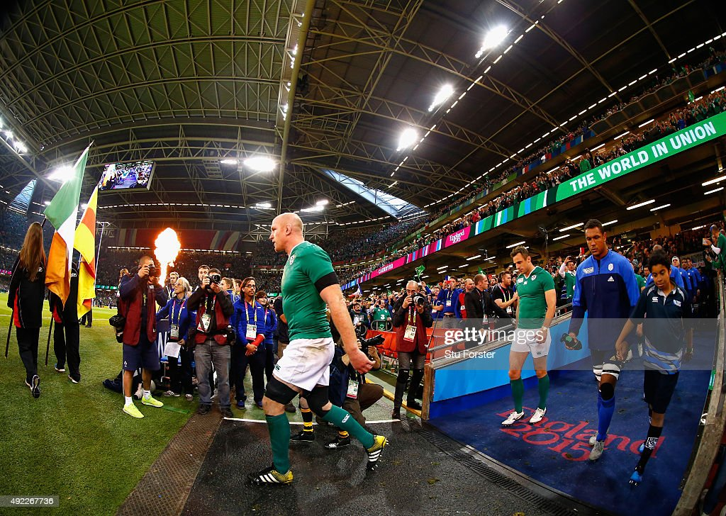 Ireland captain Paul O' Connell leads his team out before the 2015 Rugby World Cup Pool D match between France and Ireland at Millennium Stadium on October 11, 2015 in Cardiff, United Kingdom.