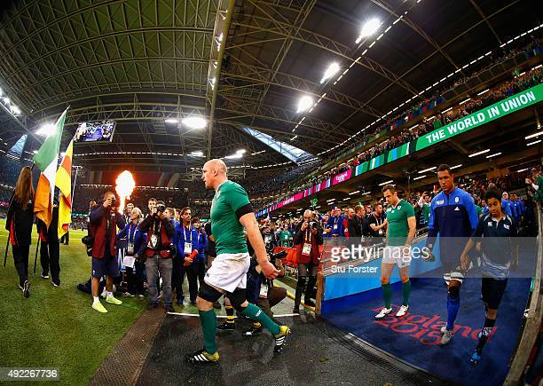 Ireland captain Paul O' Connell leads his team out before the 2015 Rugby World Cup Pool D match between France and Ireland at Millennium Stadium on...