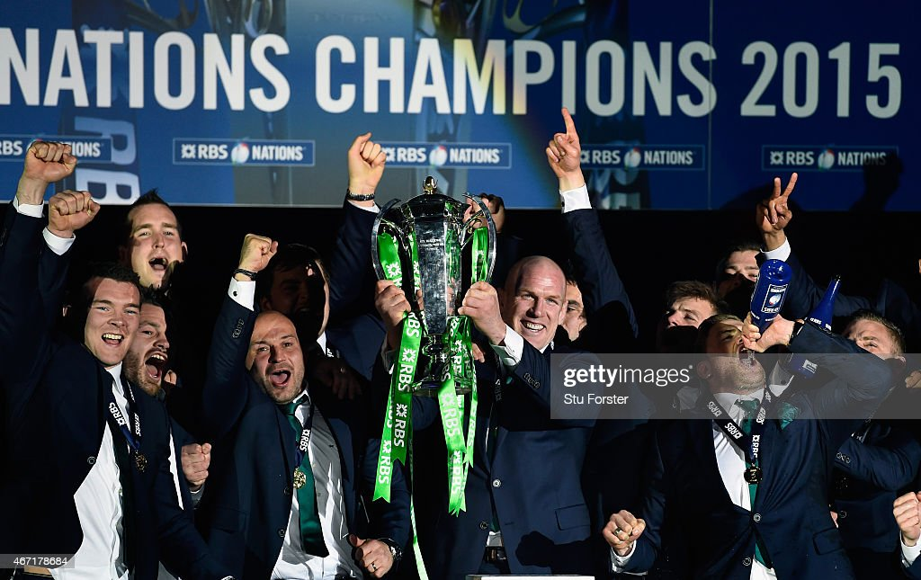 Ireland captain Paul O' Connell lifts the trophy after the RBS Six Nations match between Scotland and Ireland at Murrayfield Stadium on March 21 2015...
