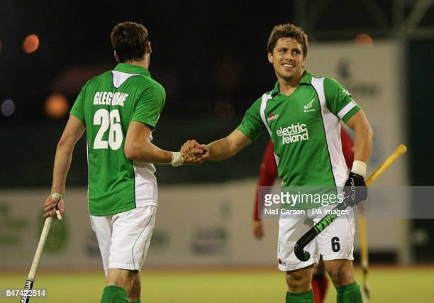 Ireland captain Ronan Gormley and Paul Gleghorne celebrate their 30 win over Chile during the FIH Olympic Games Qualifying Tournament at the Belfield...