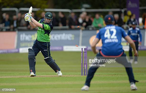 Ireland captain William Porterfield is bowled by Mark Wood of England during the Royal London One Day International between Ireland and England at...