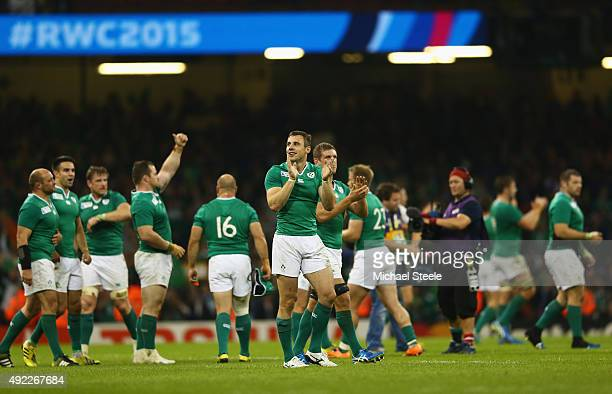 Ireland celebrate at the end of the match the 2015 Rugby World Cup Pool D match between France and Ireland at Millennium Stadium on October 11 2015...