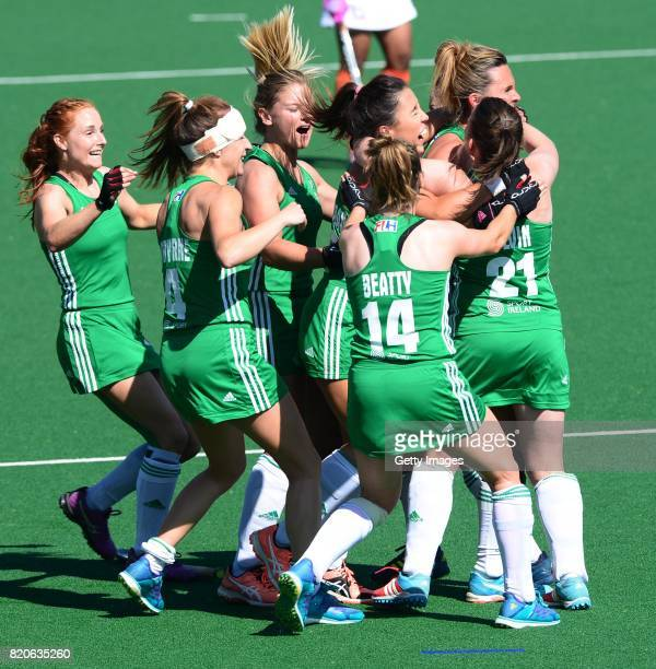 Ireland celebrate during day 8 of the FIH Hockey World League Women's Semi Finals 7th8th place match between India and Ireland at Wits University on...
