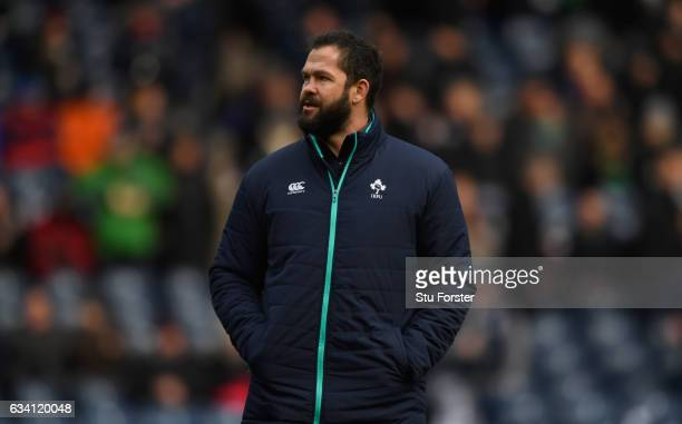 Ireland coach Andy Farrell looks on before the RBS Six Nations match between Scotland and Ireland at Murrayfield Stadium on February 4 2017 in...