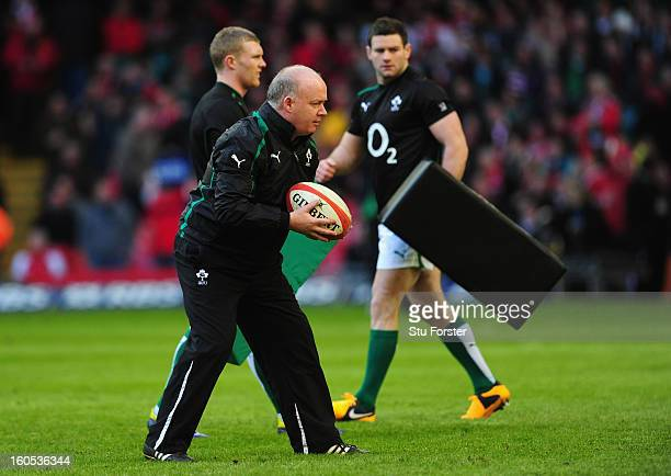 Ireland coach Declan Kidney in action before the RBS Six Nations game between Wales and Ireland at the Millennium Stadium in Cardiff Wales