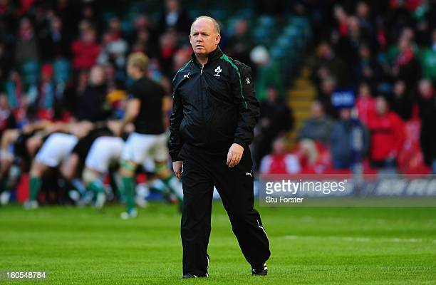 Ireland coach Declan Kidney looks on before the RBS Six Nations game between Wales and Ireland at the Millennium Stadium in Cardiff Wales