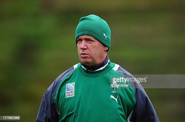 Ireland coach Declan Kidney looks on during an Ireland IRB Rugby World Cup 2011 training session at Rugby League Park on October 5 2011 in Wellington...