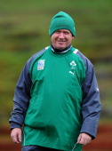 Ireland coach Declan Kidney smiles during an Ireland IRB Rugby World Cup 2011 training session at Rugby League Park on October 5 2011 in Wellington...