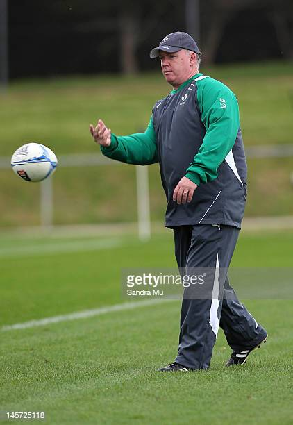 Ireland coach Declan Kidney throws a ball during the Ireland team training session at Onewa Domain on June 5 2012 in Takapuna New Zealand